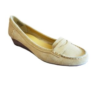Nine West Loafers Penny Wedge Gold Yellow 7.5